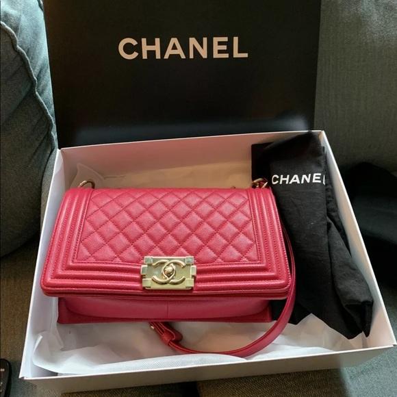 CHANEL Handbags - PINK CHANEL LE BOY CAVIAR MEDIUM BAG